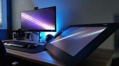 Decorating a Game Room Artist Workspace, Workspace Desk, Art Desk, Cool Office Space, Home Office Setup, Pc Setup, Desk Setup, Computer Setup, Gaming Setup