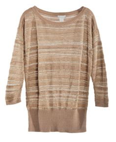 Large size stripes loose pullover
