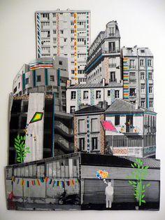 Poster décoré avec du masking tape / Picture decorated with masking tape / by Annie Laveau