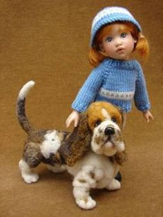 Miniature one twelve scale doll and doggie