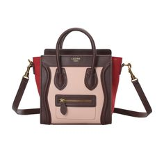 Celine bag is widely welcomed by young ladies who are dreaming for sweetness. Celine Nano Luggage Boston Leather Bag Tricolor Pink Brique Red is designed with a stylish drawstring to keep your things safe. Celine Nano Luggage Boston Bags is designed with great capacity and high quality. If you have a Celine Bags, you will be stand out in the crowd.