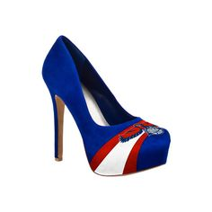 Women's Herstar Atlanta Hawks High Heel Pumps - Royal/Red/White Casual ($99) ❤ liked on Polyvore featuring shoes, pumps, high heel platform pumps, red shoes, high heel pumps, white platform pumps and white pumps