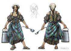 View an image titled 'Milk Maid Art' in our Fable 2 art gallery featuring official character designs, concept art, and promo pictures. Game Character Design, Character Concept, Character Art, Concept Art, Character Inspiration, Warhammer Fantasy, Fantasy Rpg, Medieval Fantasy, Warhammer Empire