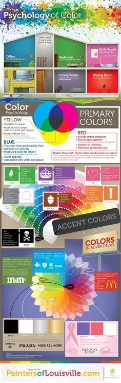 █ Author → http://pinterest.com/PinterestFella/ █  Really cool infograph about the psychology of color - what colors you should in what rooms and how color affects your mood. From → http://technical-schools-guide.com