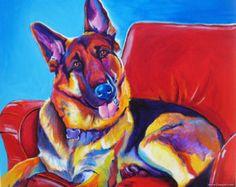 Berger allemand animal Portrait DawgArt Dog Art par dawgpainter