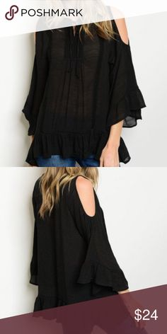💋BLACK FLOWY COLD SHOULDER TOP-NEW- SMALL & MED💋 💋BLACK LONG BELL SLEEVE COLD SHOULDER OFF THE SHOULDER TOP. FLOWY AND COMFY WITH A TIE FRONT APPLIQUÉ. SMALL AND MED. SEMI SHEER SO YOU MIGHT CHOOSE TO ADD A CAMI OR BRALETTE UNDERNEATH OR YOU CAN WEAR IT AS IT IS. PERFECT TRANSITIONAL PIECE.100%POLYESTER BUT HAS THAT GAUZY FEEL. PERFECT ADDITION TO ANY WARDROBE. SEE THE LAST PIC FOR MEASUREMENTS AND THE BUST MEASUREMENTS ARE FROM ARMPIT TO ARMPIT ACROSS THE FRONT OF THE TOP💋 Boutique Tops