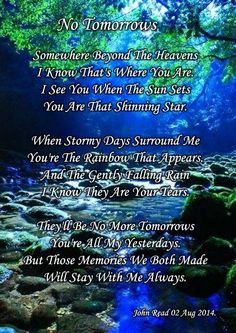 No more tomorrows....I miss you SON... 11/7/85 - 6/23/14