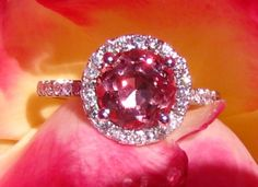 Precision Cut Burmese Peachy Pink Spinel and White Gold Diamond Halo Engagement Ring by JuliaBJewelry, $1995.00