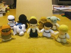 Crochet patterns for all the cute star wars amigurumi characters, darth vader, r2d2, yoda, storm troopers, princess leia, luke skywalker, hans solo, ewok and chewbacca.     http://www.squidoo.com/crochet-star-wars-patterns
