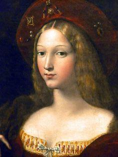 Giulio Romano (1490-1546) possibly with the intervention of #RAPHAEL (Raffaello Sanzio b.1483- d.1520), Portrait DETAIL of Doña Isabel de Requesens y Enríquez de Cardona-Anglesola, Wife of the Viceroy of Naples -  painted 1518 (Louvre Museum, Paris) #renaissance #art