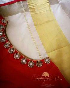 Whatsapp on 9496803123 to customise handwork and cutwork Kerala Saree Blouse Designs, Cutwork Blouse Designs, Simple Blouse Designs, Saree Blouse Neck Designs, Stylish Blouse Design, Dress Neck Designs, Bridal Blouse Designs, Kurti Embroidery Design, Embroidery Neck Designs