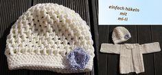Jetzt gratis loshäkeln + eine wunderbare Mütze / ein Tauf-Häubchen für Dein Baby häkeln, wunderschönes Accessoire für den großen Tag. Probiers aus.