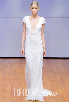 Brides.com: . Crystallized paillette sheath wedding dress with transparent chantilly lace overlay, Rivini by Rita Vinieris