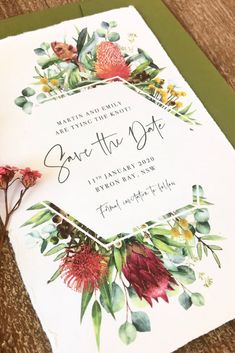 These rustic Save the Dates feature an abundance of Australian Native flora such as eucalyptus protea banksia and more! Perfect for a modern colourful outdoor wedding. They are printed on handmade cotton paper which gives a soft romantic and unique feel. Wedding Invitations Australia, Colorful Wedding Invitations, Engagement Invitations, Save The Date Invitations, Rustic Invitations, Wedding Invitation Wording, Custom Wedding Invitations, Wedding Stationery, Outdoor Wedding Invitations