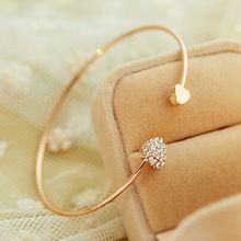 Moda Chic banhado a ouro strass coração pulseira pulseira menina Prom ornamento do presente(China (Mainland))