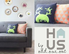 Antler Girl – Neon knitted cushion Odd one out Knitted Cushions, Antlers, Neon, Throw Pillows, Home, Design, Horns, Cushions, Knitted Pillows