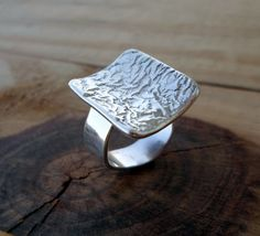 Sterling silver ring artisan silver ring statement by SelinofosArt