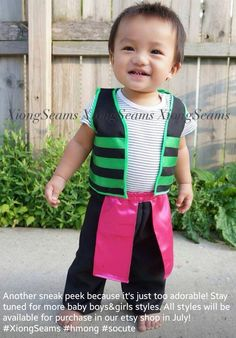 Made&design by K. Visit the XiongSeams etsy shop on July 6 for the release of baby Hmong clothes for boys and girls! Boy Outfits, Cute Outfits, Fashion Outfits, Hmong People, Temple Dress, Kids Laughing, Traditional Outfits, Hmong Clothing, Kids Clothing