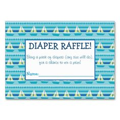 Sailboat Diaper Raffle Tickets Large Business Cards (Pack Of Baby Sprinkle Games, Baby Sprinkle Invitations, Custom Baby Shower Invitations, Sprinkle Shower, Pack Of Diapers, Diaper Raffle Tickets, Baby Shower Fun, For Your Party, Sailboat