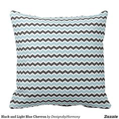 Black and Light Blue Chevron Throw Pillow