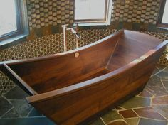 custom wooden bath tub made of walnut                                                                                                                                                     More