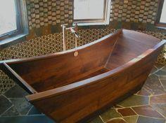 custom wooden bath tub made of walnut
