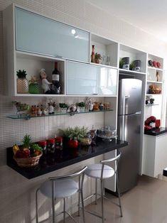 Eat In Kitchen, Home Decor Kitchen, Interior Design Kitchen, Home Kitchens, Kitchen Dining, Kitchen Modular, Small Kitchen Organization, Condo Design, Beautiful Kitchens