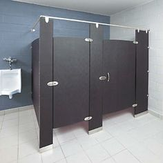 The most popular material choices for stall dividers for commercial partitions for industrial  bathrooms can range from Stainless Steel, Solid Plastic (HDPE), and Solid Phenolic Core materials. Industrial applications will vary from facility to facility based on many factors including industrial safety codes. #commercialpartitions #bakedenamelpartitions #restroompartitions