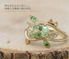 Mint green garnet X sapphire X Rose cut diamond ring ミントグリーンガーネット×サファイア×ローズカットダイヤモンドリング