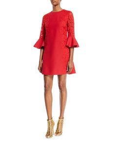 3/4 Bell-Sleeve Lace-Panel Dress by Valentino at Neiman Marcus.