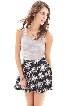 Muted Floral Skater Skirt   FOREVER21 - 2000136987