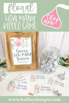 If you want a memorable party game, floral baby shower guessing game jar cards are for you; white, pink and gold guess how many candy in the jar cards are girl baby shower decorations for girl baby gender reveal party supplies kit; greenery rose flower guess how many bridal shower games for guests, ivory blush pink baby shower games to play, woman guess how many kisses game, man gender reveal games for party, boy baby shower ideas, watercolor gender neutral kids birthday party games for kids Gender Reveal Games, Gender Reveal Party Supplies, Baby Gender Reveal Party, Floral Baby Shower, Baby Boy Shower, Baby Sprinkle Games, Baby Shower Guessing Game, Baby Shower Decorations Neutral, Birthday Party Games For Kids