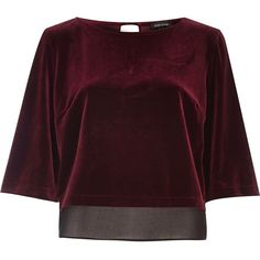 River Island Dark red velvet chiffon hem top ($30) ❤ liked on Polyvore featuring tops, shirts, crop tops, red, crop top, dark red shirt, red velvet top, long-sleeve crop tops and red shirt