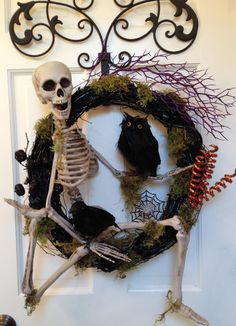 Hey, I found this really awesome Etsy listing at https://www.etsy.com/listing/201959768/sale-ready-to-ship-skeleton-wreath-owl