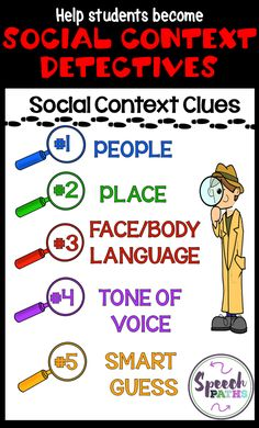 Learning about social context clues is FUN when you're a detective! In our social skills groups, kids learn to focus on important clues. Speech therapists and counselors can easily use with Social Thinking curriculum. Coping Skills Activities, Social Skills Lessons, Social Skills Activities, Teaching Social Skills, Social Emotional Learning, Life Skills, Articulation Activities, Therapy Activities, Speech Activities