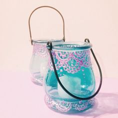 Henna Painted Hanging Candle Lantern - Iridescent Lavender on Icy Blue Glass - Indian Mehndi Design - Votive Candle Holder to hang some where perfect !