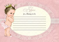 Pink Lace Little Princess Girl Baby Shower Advice Card by CuddleBugInvitations