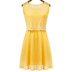 $18.29 Lace Splicing Floral Embroidery Scoop Collar Sleeveless Ladylike Women's Sundress