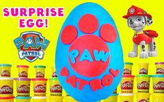 Paw Patrol Giant Play Doh Surprise Egg with toys like blind bags, Sheriff Callie, Hello Kitty and of course, Paw Patrol!!