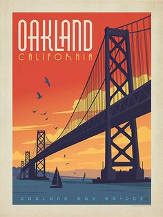 Oakland, California - Anderson Design Group has created an award-winning series of classic travel posters that celebrates the history and charm of America's greatest cities and national parks. This romantic sunset print features the iconic Oakland Bay Bridge. Printed on heavy gallery-grade matte finished paper, this print will look great on any home or office wall.