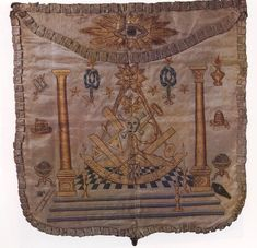 """Image from the book """"Bespangled Painted & Embroidered"""", which features pictures of decorated Masonic Aprons in America from 1790-1850.   It was published in 1980 by the Northern Scottish Rite Jurisdiction."""