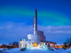 The Northern Light Cathedral in Norway, designed by LINK Arkitektur, schmidt/hammer/lassen architects.  The cathedral is a the main parish church in Alta Municipality in Finnmark county, Norway. The church was built in 2012-2013. The church is the result of an architectural competition launched in 2001. It was consecrated on 10 February 2013 by the Bishop Per Oskar Kjølaas, with the Crown Princess Mette Marit in attendance.
