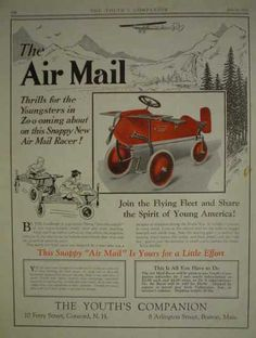 Air Mail Flying Toy Racer Very cool ad for a vintage collectible toy (1927)