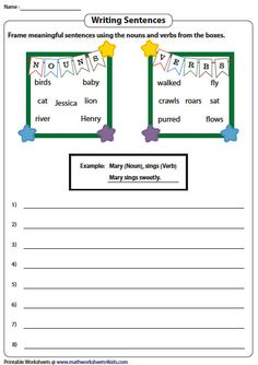 Frame Sentences with Nouns and Verbs
