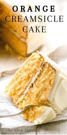 Orange Creamsicle Cake ~ this orange cream cake has a casual vibe that makes it . Orange Creamsicle Cake ~ this orange cream cake has a casual vibe that makes it perfect summer gatherings, potlucks, family birthdays, and everyday meals. Orange Creamsicle Cake Recipe, Orange Layer Cake Recipe, Homemade Orange Cake Recipe, Citrus Cake, Summer Dessert Recipes, Best Cake Recipes, Delicious Recipes, Layer Cake Recipes, Köstliche Desserts
