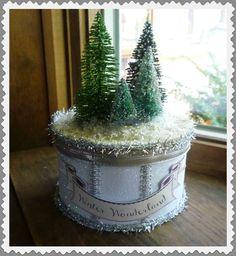 Winter Wonderland Bottle Brush Tree Box by twojackmama on Etsy