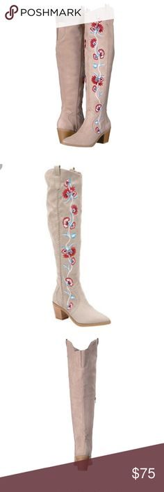 GORGEOUS Carlos Santana Alexia over the knee boot Brand New in Box Fabric upper in a detailed boot style with a round toeInner side zip closureDecorative embroideryWestern inspired stitchingTwin pull tabs18 inch shaft height, 15 inch circumferenceSmooth lining, cushioning insole for all-day comfortTraction outsole, 2 and 1/2 inch stacked heel.  I may be able to get other sizes. Comment below if interested  Carlos Santana Shoes Over the Knee Boots