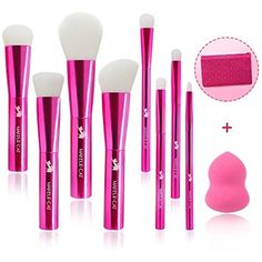 MAKEUP CAT 8 pieces Professional Makeup Brush Set Aluminum handle Cosmetic Brushes Kit with case Makeup Foundation Contour Blush Concealer Lip Face Eye Eyeshadow Blending Kabuki Brushes Sets Rose Red ** You can find out more details at the link of the image. (This is an affiliate link) #ToolsAccessories