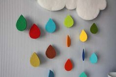 susan akins posted DIY Rain Cloud Mobile by whimsy-girl: Love the chenille cloud! Diy For Kids, Crafts For Kids, Arts And Crafts, Felt Crafts, Diy Crafts, Cloud Art, Diy Cloud, Baby Deco, Craft Projects