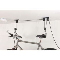 "Here's an easy to install bike mount that saves a ton of space. One customer says, ""I installed two bike ceiling mounts, which were very easy to install (about 30 minutes total for both)."""